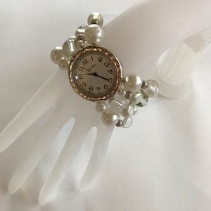 Chico's distresses silver and beaded watch